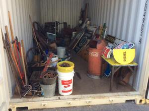 Locker full o' antique signs & tools & & & & !