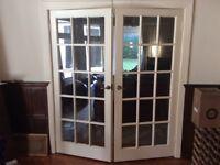 Internal Glass & Wood Double Doors For Sale