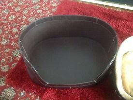 Dog beds x2 for £20, leather and soft bed
