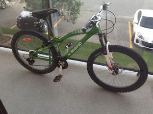 Green and white mountain bike