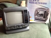 Vintage Black and White TV with AM/FM radio