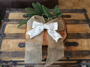 Wedding Decorations - Handmade Burlap and Lace Bows