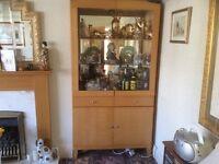 Quality Light Oak Display Cabinet.