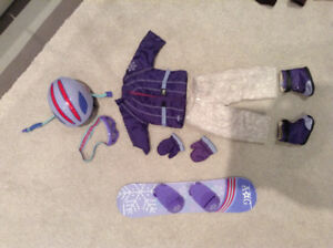 American Girl Snowboard and Snowboard Outfit + Helmet & Goggles