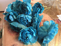 Turquoise blue teal ranunculus flowers, wedding home decor