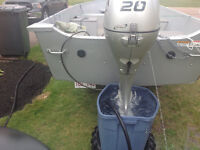 20 hp Honda four strokes with gas tank and battery charging cbl
