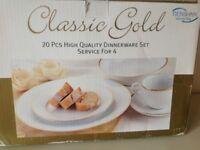 20 piece gold rimmed dinnerware