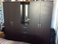 Dark brown wardrobes and 4 drawers
