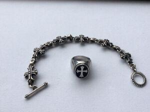 Men's cross ring and bracelet set