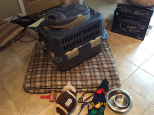 Dog crate, bed and accessories