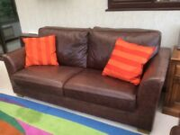 Two brown Italian leather 3 seater sofas
