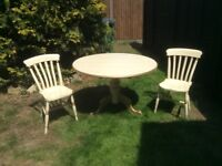 Solid Cream and Gold Pine Round Table and 2 Chairs