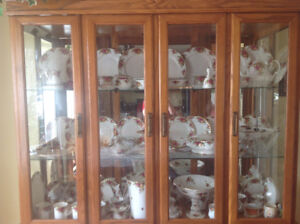 Oak China Cabinet complete with 9 place setting OLD COUNTRY ROS,