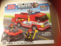 New, 190 piece mega BLOKS, fire patrol rescue set ..$12.00