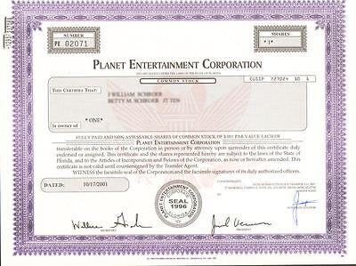 Planet Entertainment Corporation > Nevada music business stock certificate
