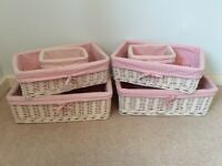 Pink Gingham Fabric and Willow Storage Baskets for Baby Girls Nursery
