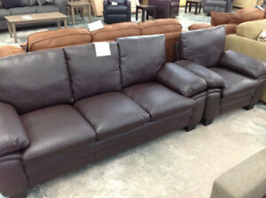 BRAND NEW 2 PIECE BONDED LEATHER SOFA, CHAIR SET