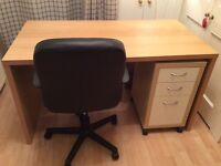 Desk, chair and drawers