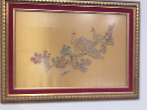 embroidery art for sale with frame included