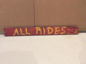 "Antique ""ALL RIDES 25c"" wooden amusement park sign !"