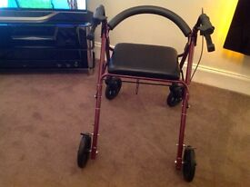 WALKING FRAME WITH SEAT AND BRAKES UNUSED