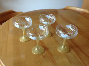 Hand Painted Dessert Glasses Set of 4