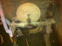 OLD Grinding Stone with electric motor and stand