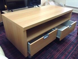 BEECH IKEA TV CABINET WITH 2 LARGE DRAWERS AND COME ON WHEELS