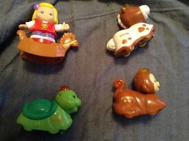 Vtech horse, turtle, monkey and Maddie on a horse