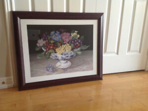Almost new beautiful wall painting/picture in cherry frame. Size
