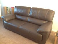 Brown Leather 3 Seater Sofa and Chair