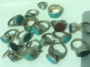 Old Arabic silver genuine natural turquoise,unisex jewelry rings