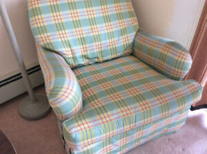 2 custom down filled arm chairs