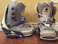 BURTON SNOWBOARD BOOTS AND SNAP IN BINDINGS (LADIE'S SIZE 7)