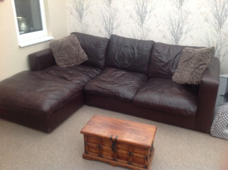Italian leather brown corner sofa | in Wombwell, South Yorkshire ...