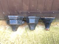 Three metal vintage garden hoppers planters