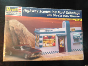 1969 Talladega Ford with diner background