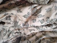 Very large heavy interlined curtains linen, interlined,lined and gathered