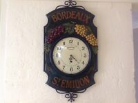 Large vintage London wall clock wood and wrought iron hand painted - Bordeaux