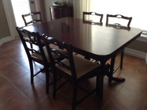 Mahogany Dining Table, five chairs