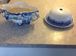 Vintage blue bowl and butter/cheese plate