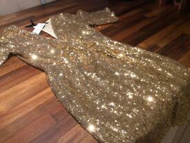 Tfnc London gold dress
