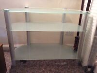 Tv media stand glass and brushed steel,