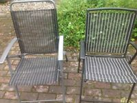 Pair folding garden chairs