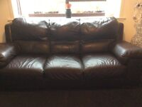 Large brown 2 seater and 3 seater sofas
