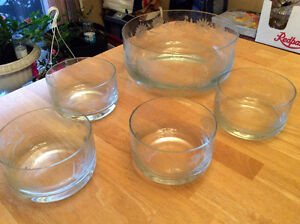 Crystal Salad bowl with crystal salad bowls
