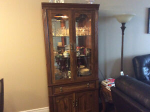 Hutch with light and glass shelves