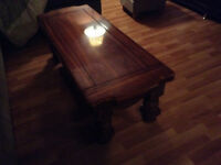 Two dark oak coffe table and two end table