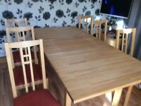 Ikea solid pine extending dinning room table and 6 chairs