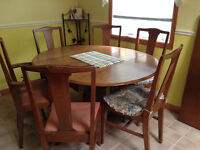 Antique Kitchen Table with 6 chairs and a leaf